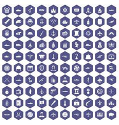 100 combat vehicles icons hexagon purple vector