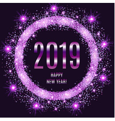 2019 happy new year glowing violet background vector