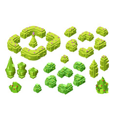 3d isometric trees and hedges vector