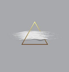 3d white paint brush stroke with triangle gold vector