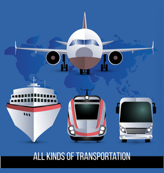 All kinds travel transport plane bus train vector