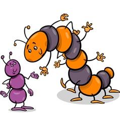 ant and caterpillar cartoon vector image