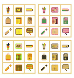 Assembly flat icons office pins notebook vector