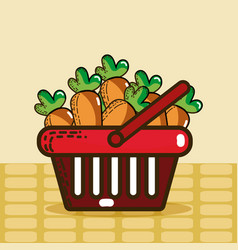 Basket with carrots super market products vector