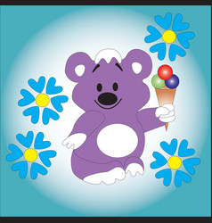 Bear cub keeps ice cream in his paw vector