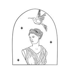 Bohemian modern arch logo design woman bird vector