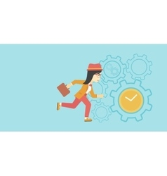Business woman running vector image