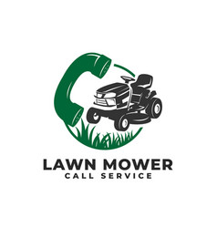 Call service lawn mower logo icon vector