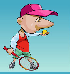 cartoon man in a cap with a big nose plays tennis vector image
