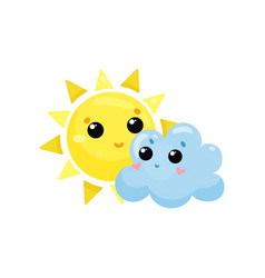 Cartoon yellow sun and blue cloud with kawaii vector