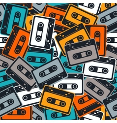 Cassettes seamless pattern In Retro style vector image