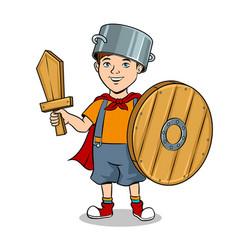 child in wooden armor pop art vector image