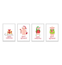 Christmas cards with cute piglets isolated on vector