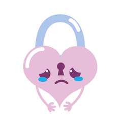 Colorful crying heart padlock kawaii personage vector