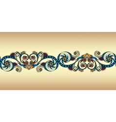 Colorful seamless ribbon on the gold background vector image