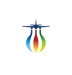 colorful world airplane earth symbol creative logo vector image