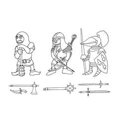 Coloring page cartoon three medieval knights vector