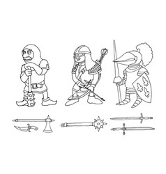 Coloring page of cartoon three medieval knights vector