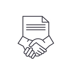conclusion of a contract line icon concept vector image