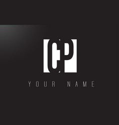 Cp letter logo with black and white negative vector