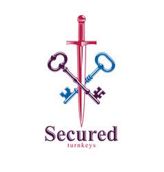 crossed keys and dagger symbol emblem turnkeys vector image