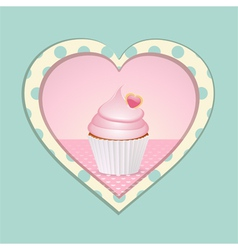 cupcake and polka dot heart vector image