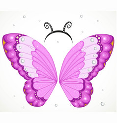 Cute pink butterfly wings and hoop with antennae vector