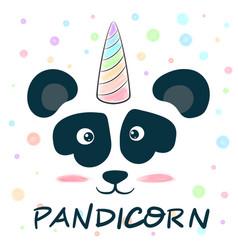 cute unicorn panda pandicorn - love vector image