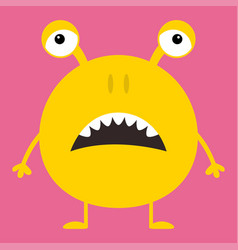 Cute yellow monster icon happy halloween cartoon vector