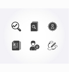 Cv documents analytics and person idea icons vector
