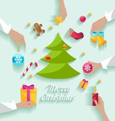 Decorating Christmas tree vector image