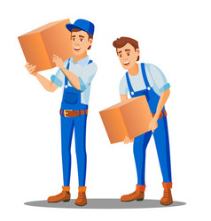 Delivery worker in uniform carries a heavy box vector