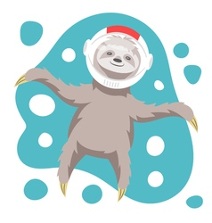 Dreamy happy sloth floating in space in space vector