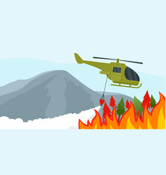 fire in forest background flat style vector image