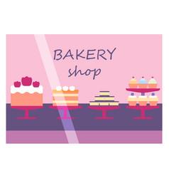 Flat design restaurant bakery shop facade icon vector