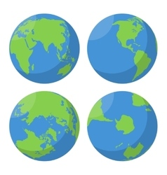 Flat Earth globe icons set vector image