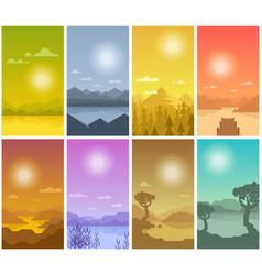 Flat landscape banners vector