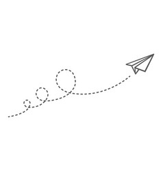 flying paper plane with dotted lines images vector image