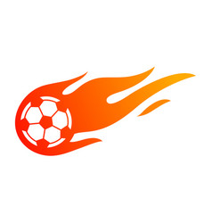 football or soccer with fire flame symbol vector image