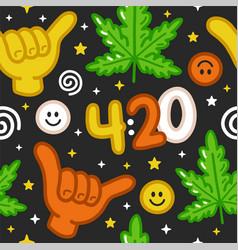 Funny weed marijuana shaka gesture420 seamless vector