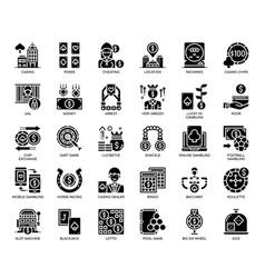 Gambling elements glyph icons vector