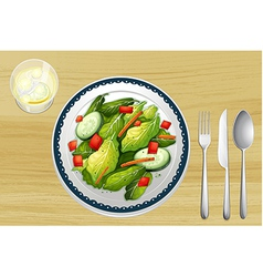 Garnished salad on a wooden table vector