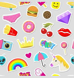 Girl fashion stickers patches cute colorful badges vector