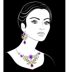 Girl with jewelery vector image