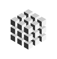 Grey geometric cube of 27 smaller isometric cubes vector