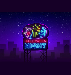 halloween neon billboard halloween night vector image