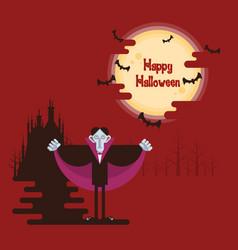 halloween vampire standing under moon vector image