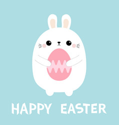 happy easter rabbit bunny holding painting egg vector image