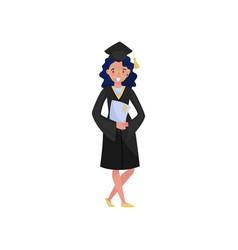 happy female graduate smiling graduation student vector image