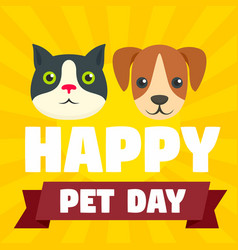 Happy national pet day concept background flat vector